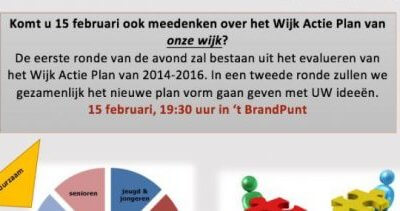 Komt u 15 februari ook meedenken over het WijkActiePlan van onze wijk Brandevoort